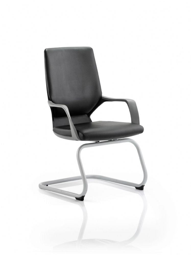 Xenon Integral Contoured Lumbar Support Visitors Chair Grey Frame Black Acrylic Shell In Leather
